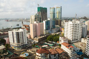 High-rise buildings and Luthern Church at the harbour, Dar es Salaam, Tanzania
