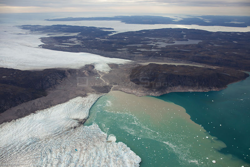 Aerial view of the Sermeq Kujalleq Glacier or Jakobshavn Isbrae, entering the sea, near Ilulissat, UNESCO World Heritage Site...