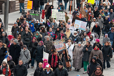 Anti Charter demonstration In Montreal Canada