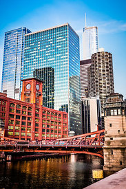 Picture of Chicago Buildings at LaSalle Street Bridge