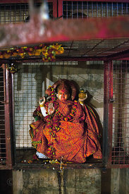 Mother Ganga, Goddess of the Ganges River, at a temple along the river near Dashashwamedh Ghat, Varanasi, India.