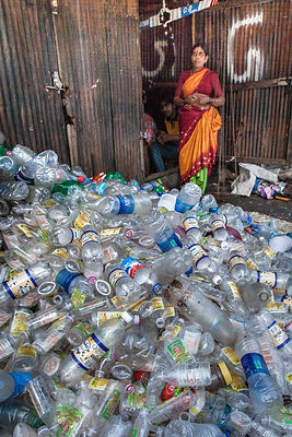 The Dharavi slum in Mumbai is a major center for recycling some of the plastic waste generated by Mumbai's 20 million people....