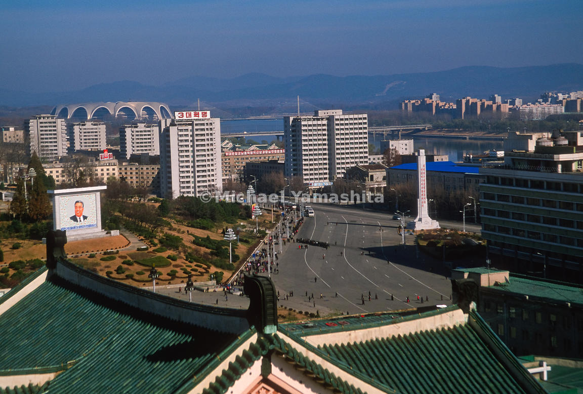 Views of Kim Il Sun Square, Pyongyang, North Korea