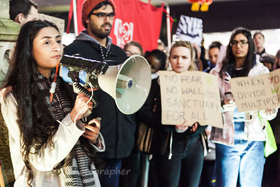 Aleesha, speaking at Leicester anti-Trump demonstration