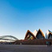 View of the Sydney Opera House and bridge at Bennelong Point, Sydney, New South Wales, Australia