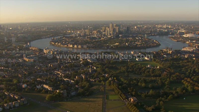 Aerial footage of Greenwich and the Isle of Dogs, London