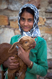 A farm girl and her goat at the Tree of Life for Animals rescue center (tolfa.org.uk) near Pushkar, Rajasthan, India