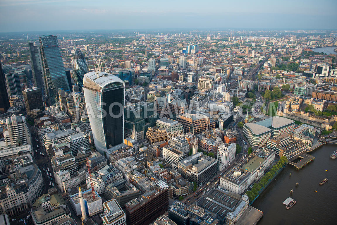 Aerial view of 20 Fenchurch Street and the City, London