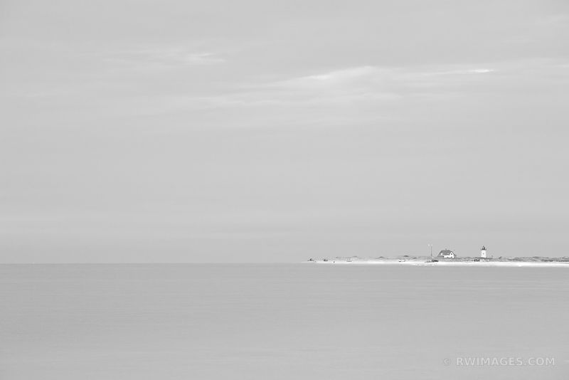 BLUE OCEAN HERRING COVE BEACH LIGHTHOUSE CAPE COD MASSACHUSETTS BLACK AND WHITE