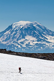 Hiker on Pacific Crest Trail with Mount Adams Towering Behind
