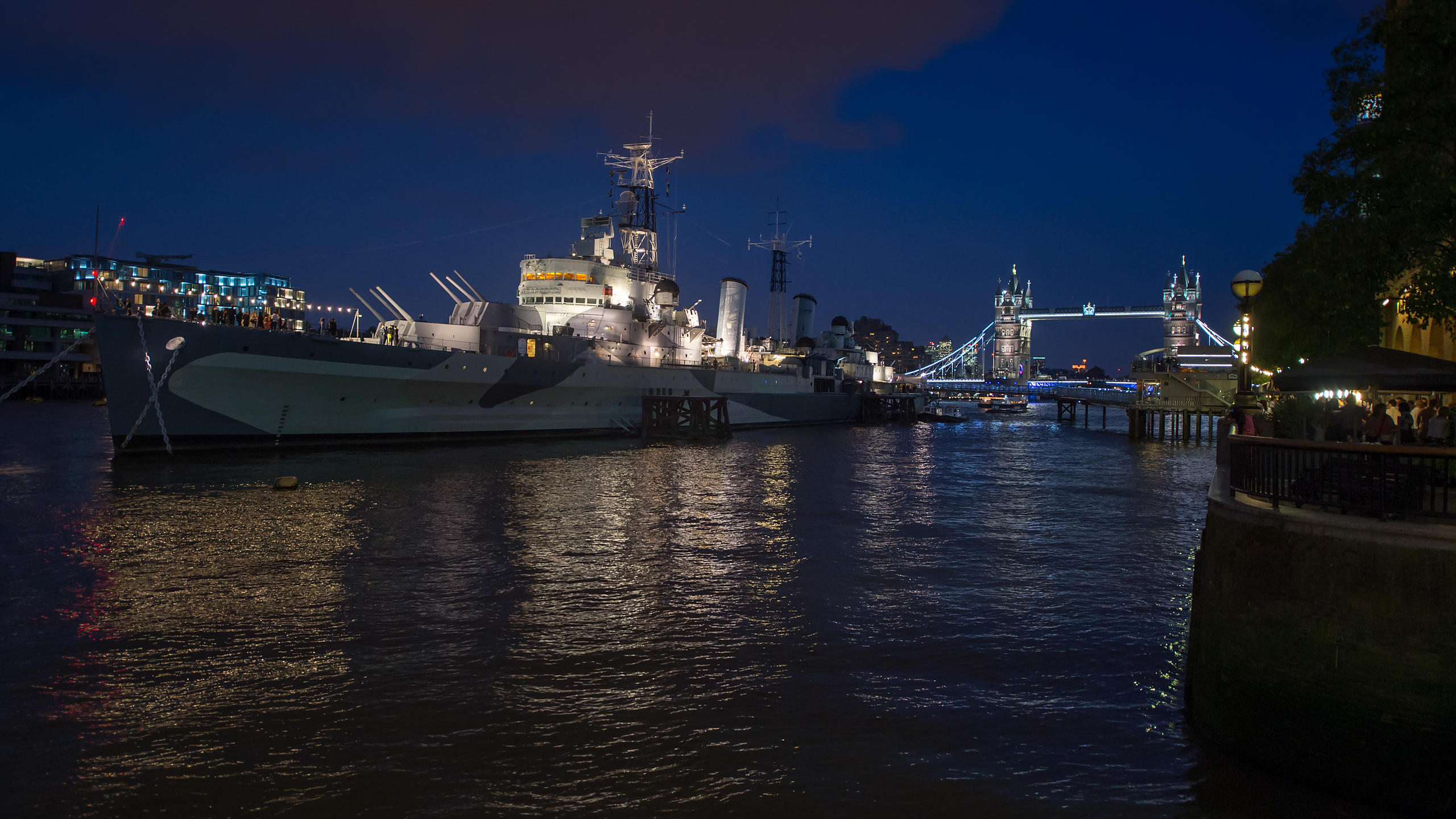 HMS Belfast at Night with Tower Bridge and Thames River