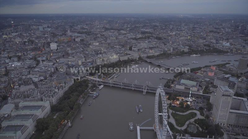 Aerial footage of London at dusk