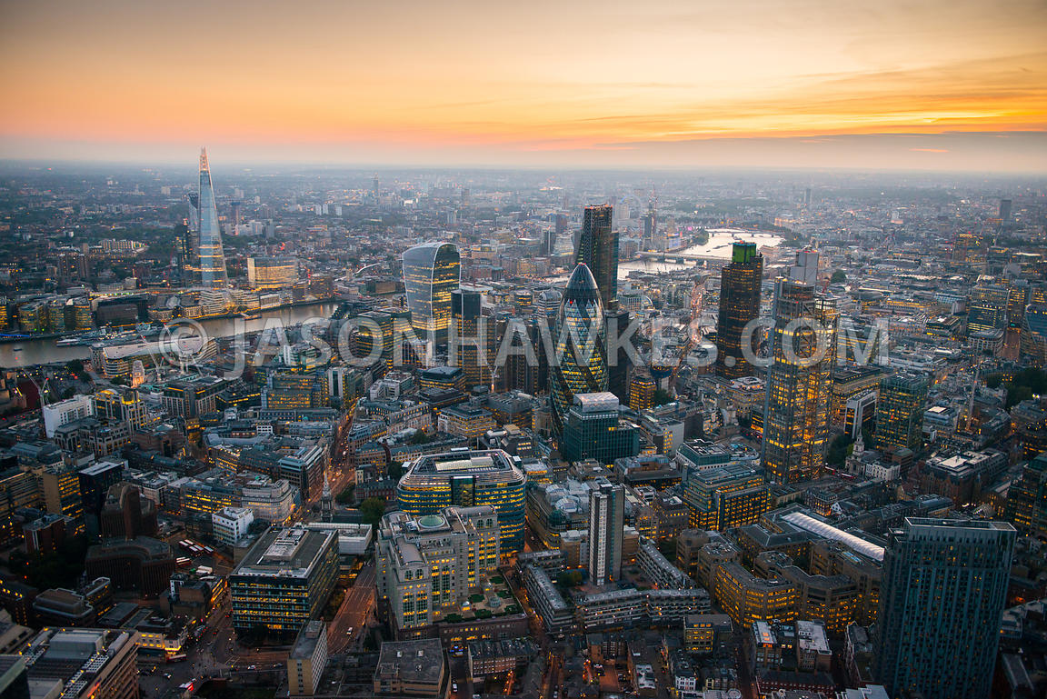 Aerial view of the City of London at dusk