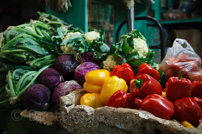 Beautiful brightly colored organic vegetables for sale at Newmarket, Kolkata, India.