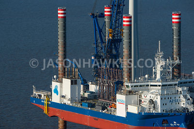 Aerial view of a Offshore Wind Turbine Installation Vessel at Gwynt y Môr