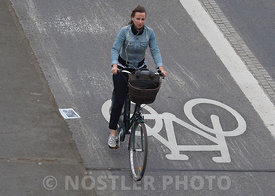 Cyclist on a bike lane