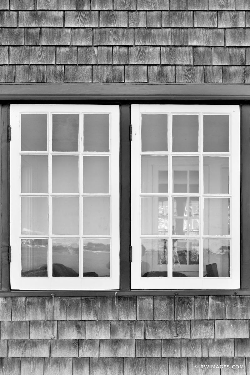 OLD WOODEN HOUSE WINDOW CAPE COD BLACK AND WHITE VERTICAL