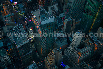 Close up aerial view of the Times Square Tower, Midtown Manhattan