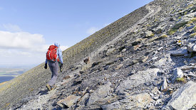 A hiker walking up a steep rocky mountain trail leading to the summit of Skiddaw in the English Lake District.