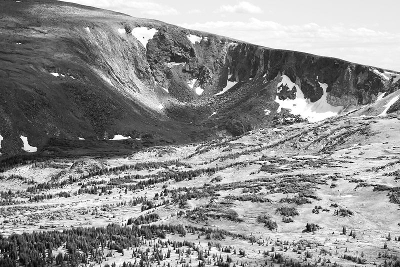 VIEW FROM ALPINE VISITOR CENTER ROCKY MOUNTAIN NATIONAL PARK COLORADO BLACK AND WHITE