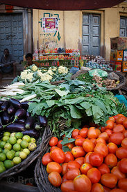 Beautiful vegetable stand at a market, Birdopur, Varanasi, India
