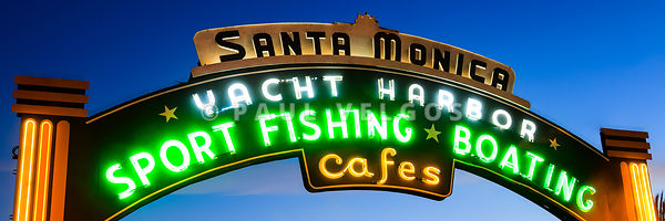 Santa Monica Pier Sign Panorama Picture