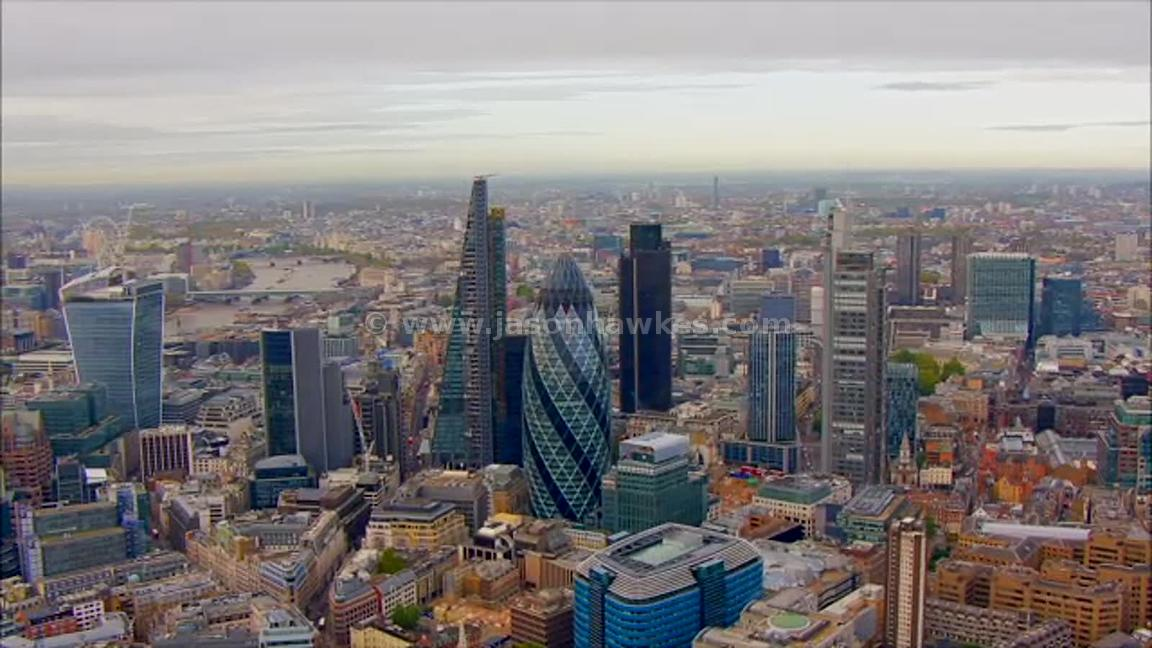 Aerial footage over the City, London