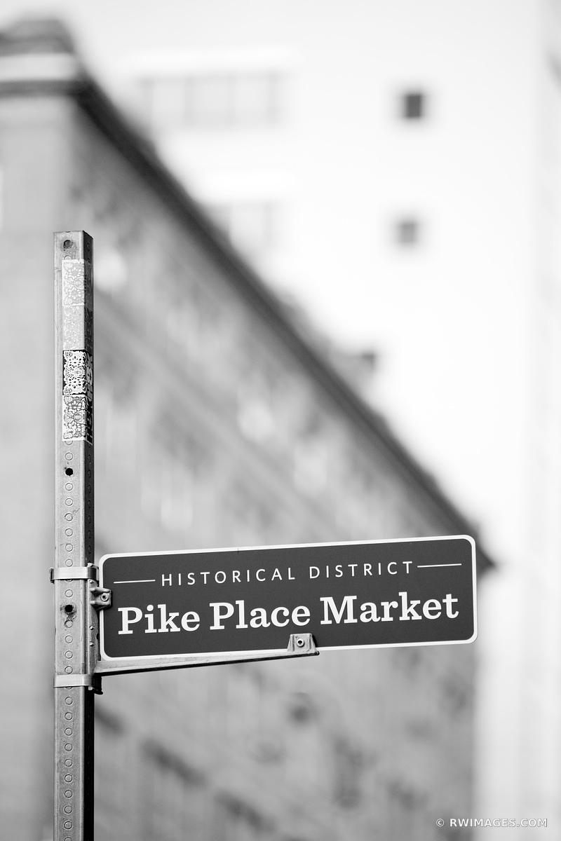 PIKE PLACE MARKET SEATTLE BLACK AND WHITE VERTICAL