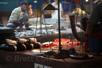 Fish and scales at a fish market in Shyambazar, Kolkata, India.