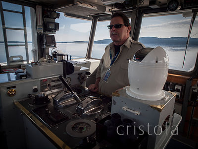 driver and controls of the Vesuvius to Crofton ferry