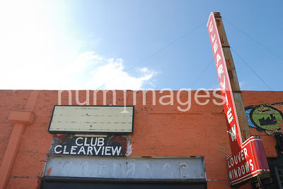 Club Clearview sign in Deep Ellum area of Dallas, Texas