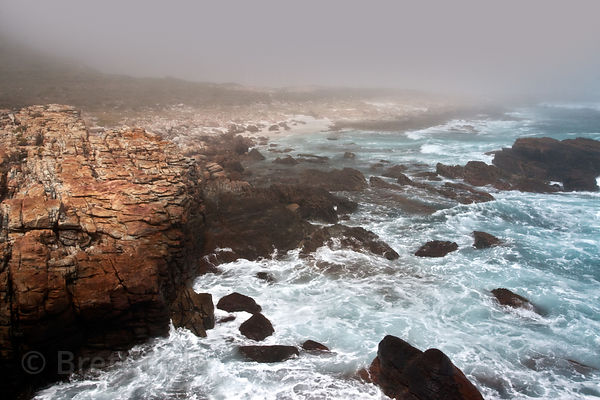 Mist over the rocky coastline near the Cape of Good Hope, South Africa