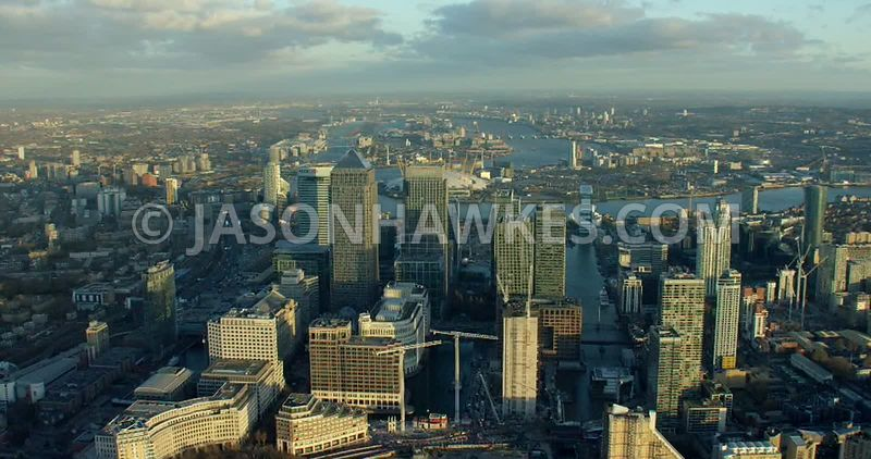 Aerial footage of Canary Wharf, Isle of Dogs