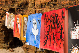 Modern Aboriginal art works shown at Raft Point in Austalia's Kimberley area.