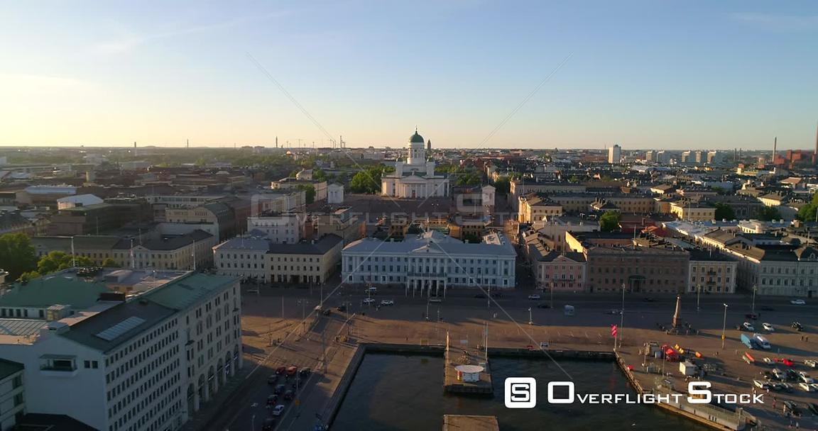 Helsinki Cityscape, Aerial Sideway View of the Helsinki Cathedral and the City, on a Sunny Summer Evening Dusk, in Helsingfor...