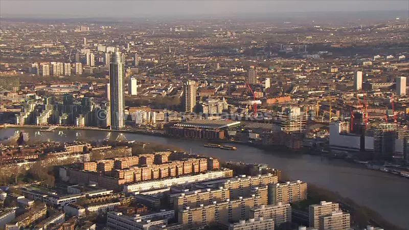 Aerial footage of the River Thames