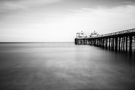 Malibu Pier Black and White Photo