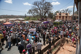 Some 200 protestors gather during a demonstration in Soamahamanina (70 kilometer from Antananarivo) on September 29, 2016 in ...