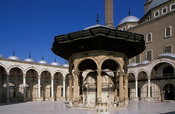 Courtyard of Mosque of Muhammad'Ali with ablution fountain, Islamic Cairo, Egypt