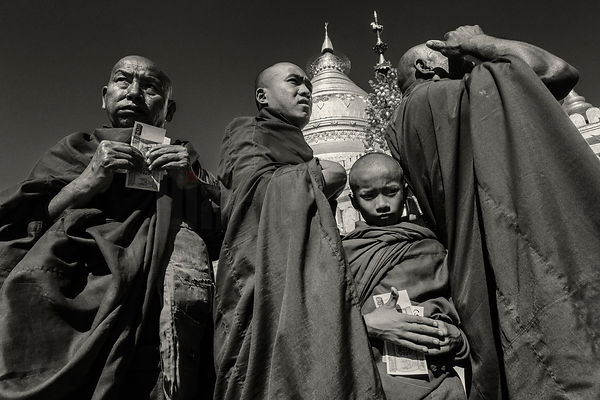 Monks at Shwezigon Pagoda During the Full Moon Festival