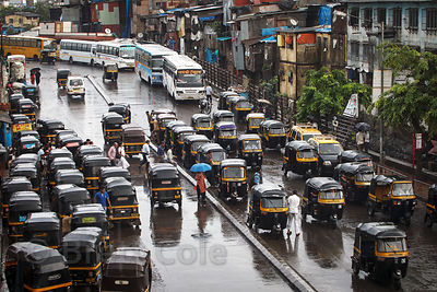 Monsoon rains on traffic in Bandra East, Mumbai, India.