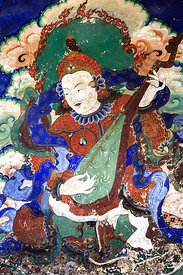 Beautiful high-quality painted murals that are said to be a couple hundred years old, on a wall in Spituk Gompa, Leh, Ladakh,...