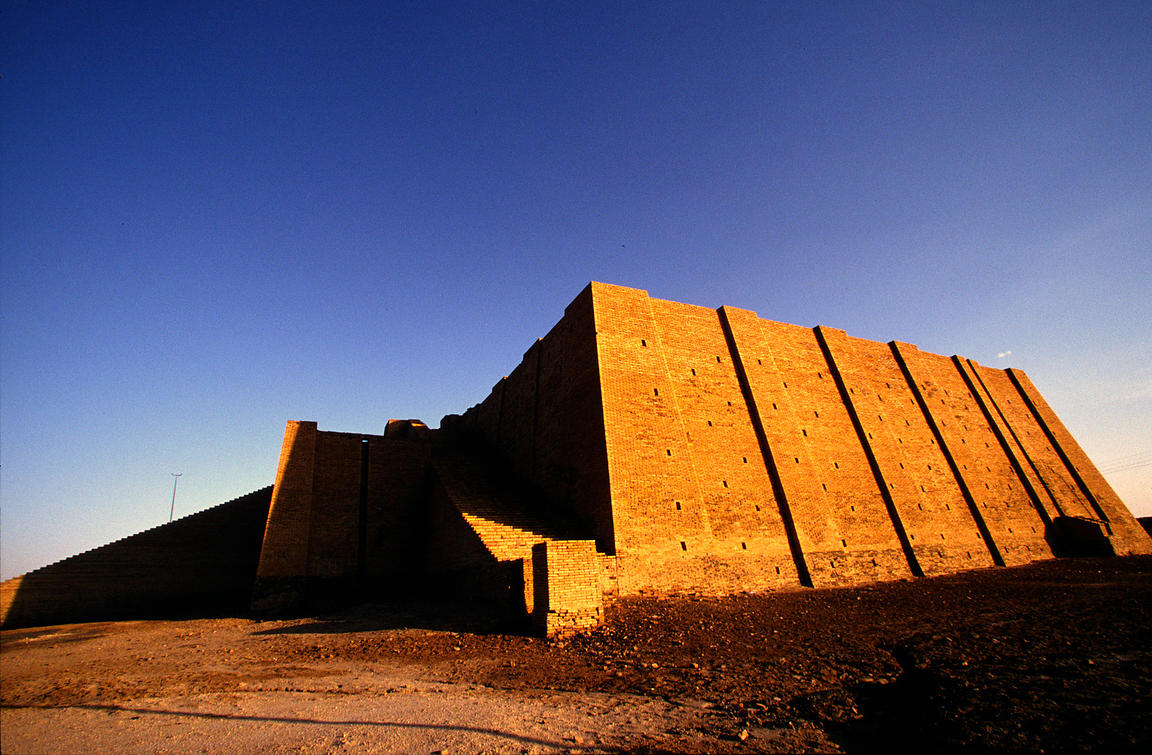 A man walks past the ziggurat at Ur