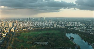 London Aerial Footage of Hyde Park with The Serpentine.