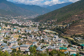 A view of Thimphu, Bhutan.