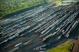 An aerial view of the freight trains at the Union Pacific Railroad Company located in East St. Louis, Illinois.