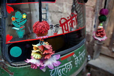 Fanciful adornments on an auto rickshaw in Jodhpur, Rajasthan, India