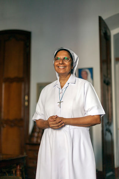 Sister Marie Stella at the Embroidery Private House, Pondicherry, India