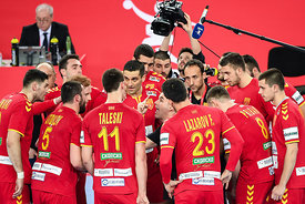 Team Macedonia during the EHF EURO Croatia 2018 - Preliminary round -  Group C - Germany vs Montenegro in Arena Zagreb, Zagre...