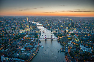 Tower Bridge, River Thames, London, dusk aerial view